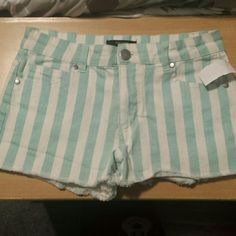Mint and white shorts :) Forever 21 Shorts Jean Shorts