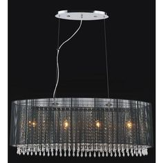 Crystal World Inc. - Oval Black Sheer 6 Light Chandelier - 5004P35C(B) - Home Depot Canada