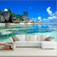 Wallpaper 3D Mural Beach Stone Sea View Island Wall Paper Background Furniture  #changyi #ModernArtAbstract
