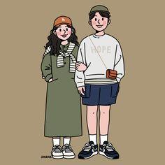 This is Sinana Illustrator based on fashion illustration. Cute Couple Drawings, Cute Couple Art, Cute Drawings, Cute Couples, Chibi Couple, Couple Cartoon, Couple Illustration, Illustration Art, Pretty Art