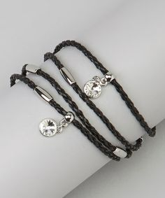 Look at this #zulilyfind! Silver & Black Shimmer Wrap Bracelet #zulilyfinds