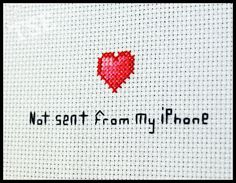 Not Sent From My iPhone Cross Stitch PDF Pattern - Immediate Download from Etsy - Geek Love Cute