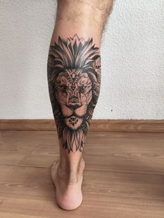 Tattoo Zabityy Kot - tattoo's photo In the style Graphics, Whip Shading, Male, Lio Calf Sleeve Tattoo, Lion Tattoo On Thigh, Ankle Tattoo Men, Wing Tattoo Men, Lion Tattoo Sleeves, Lion Head Tattoos, Mens Lion Tattoo, Mandala Lion Tattoo, Tatoos