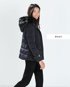 DOWN JACKET WITH HOOD AND BELT