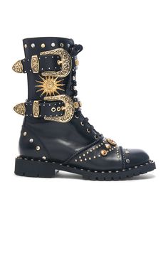 Fausto Puglisi Embellished Leather Boots in Black   Gold   FWRD Schwarzes  Gold, Lederstiefel, · Schwarzes GoldLederstiefelSchuh StiefelVerzierungen 8caf592b33