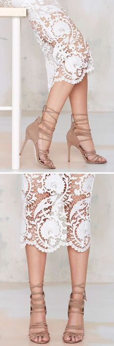 White Lace Pencil Skirt + Tan Heels