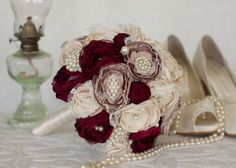 Cream Dusty Pink and Burgundy Satin and by MyVintageWeddingAust