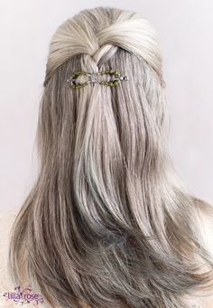 I'd let my hair go gray naturally if it looked like this! A perfect gray silver color and so thick! The silver sage green flexi clip is perfect for the half up braid style.