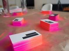 DIY spray paint fade edge business cards! Great way to add a pop of color into your word day.