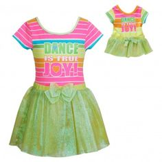 """""""Joyful Dancer"""" Two Piece Leotard and Tutu Set with Matching Outfit for 18 inch Play Doll. Your dancing queen will dance for joy in this colorful leotard and tutu and her matching doll will follow in line."""