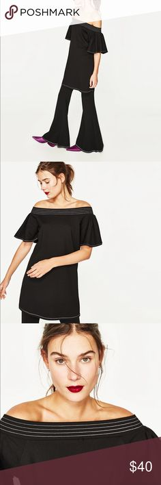 Zara Black Ruffled Frilled Strapless Dress Size small. Brand new with tags. Off the shoulder Ruffled sleeve dress with top stitching. Zara Dresses Strapless