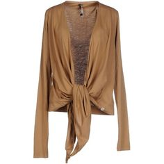 Manila Grace Cardigan ($94) ❤ liked on Polyvore featuring tops, cardigans, camel, camel cardigan, lightweight cardigan, jersey top, long sleeve tops and cotton jersey