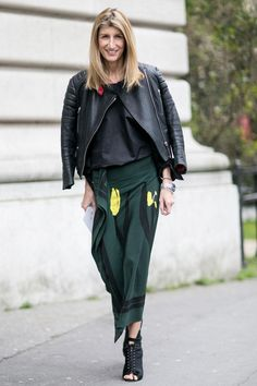 Chic Street Style From Paris Fashion Week  - leather moto jacket + emerald green oversized floral print skirt and peep toe ankle boots