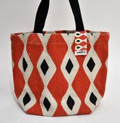 インド綿 手織り調エスニックアジアントートバックレンガ菱柄_画像1