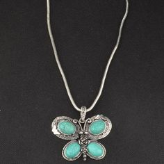 Turquoise howlite Butterfly Necklace . Starting at $1 on Tophatter.com!