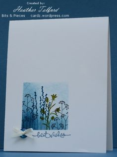 Artist:  Heather Telford. The tiny little button and ribbon set the colour scheme for the card.  I cut a square mask into a post-it note and used sponging in Not quite Navy to define the square before stamping the three Pocket Silhouette stamps. Distress ink and masking.