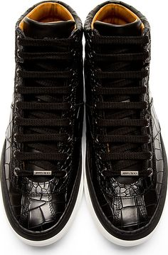 Jimmy Choo: Black Croc-Embossed Belgravi High-Top Sneakers nice price for your holiday gifts! http://uggboots-onlinestore.blogspot.com/  $82.99  real high quality for ugg boots here