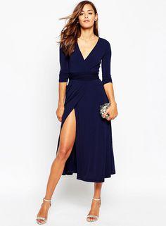 V Neck Long Sleeve Solid Color Slit Dress  034eb00d5