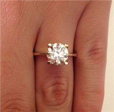 2 00 Ct Round Cut Diamond Solitaire Engagement Ring Yellow Gold - exactly but in white gold Engagement Solitaire, Wedding Engagement, Wedding Bands, Solitaire Diamond, Solitaire Setting, Solitaire Rings, Diamond Rings, 1 Karat, Perfect Day