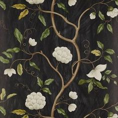 Colefax and Fowler Snow Tree Black virágos tapéta Chinoiserie Wallpaper, Tree Wallpaper, Black Wallpaper, Fabric Wallpaper, Pattern Wallpaper, Wallpaper 2016, Chinese Wallpaper, Colefax And Fowler Wallpaper, Paper Fire