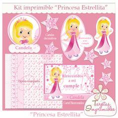 """Kit imprimible """"Princesa Estrellita"""" , infaltable en la fiesta de cumpleaños de las niñas más dulces de la casa... Puedes encontrarla en mi tienda: http://tarjetasimprimibles.metatiendas.com/producto/3595/kit-imprimible-princesa-estrellita/"""