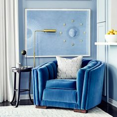Love this exact blue. Velvet Art Deco chair via @MyDomaine
