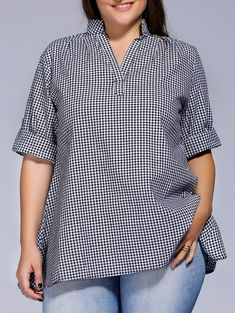 Plus Size Short Sleeve Plaid Loose-Fitting Blouse For Women