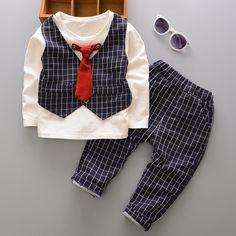 Children's wear 2017 new spring and autumn tide boy Plaid small version vest Boys' Clothing Sets 2pcs/set