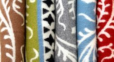 Wool blankets with patterns from Swedish medieval churches. For sale at crafts store Svensk Slöjd in Stockholm.