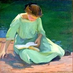 The green dress by Elanor Colburn born 1866 in Dayton (Ohio), USA died May 7, 1939 in Laguna Beach (California), USA