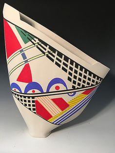 Multi-Colored Unique Sailvase by Jean Elton: Ceramic Vase available at www.artfulhome.com