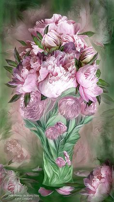 Peony your blossoms like plump scoops of ice cream in a Springtime sundae you are such a delightful treat so tempting and sweet.  Pink Peonies prose by Carol Cavalaris  This artwork of a bouquet of luscious pink peonies inside a pink peony vase, is from the Flowers In Fancy Vases Collection of floral art by Carol Cavalaris. The peony is one of the edible flowers, delicious in tea, on salads, and on top of pink lemonade or punch.
