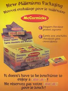 Wished they still made these Canadian chocolate bars! Loved them! Cuban Lunch chocolate bars!.