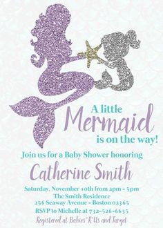 Teal and Lavender Glitter Mermaid - Mother and Child - Baby Shower invitation