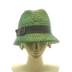 New Fedora Hat for Women Vintage Style Green Straw Hat $220.00