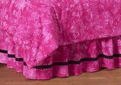 Pink Groovy Peace Sign Tie Dye Queen Kids Children's Bed Skirt by Sweet Jojo Designs - Click to enlarge