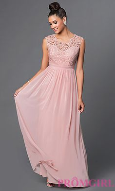 Illusion Lace Sweetheart Floor Length Prom Dress at PromGirl.com