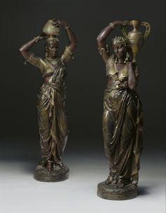 Charles-Henri-Joseph Cordier (French, 1827-1905) | Torchères femme indienne portant un vase sur épaul gauche; femme indienne portant un vase sur la tête