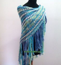This is a green - blue lacy crochet shawl. Handmade crocheted blue shawl that can be worn as a scarf or even a sarong on the beach! Blue Lacy, Prayer Shawl, Lace Wrap, Crochet Shawl, Shawls And Wraps, Boho Wedding, Wedding White, Cotton, Crochet Wedding