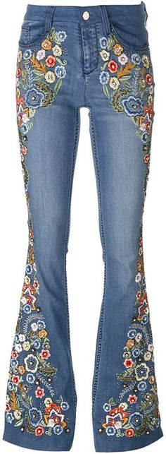 Alice+Olivia paisley embroidered flared jeans