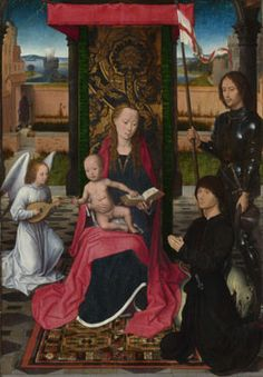 Hans Memling: 'The Virgin and Child with an Angel' c. 1480. Also features unknown donor with Saint George.