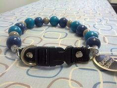 Blue Aqua and Grey  Bead Dog Collars Buckle by BeadieBabiez