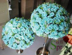 SPR NOVO! 2017 azul tiffany mesa central do casamento bola flor decoração flores flor chumbo Estrada 50 cm de diâmetro. 2 pçs/lote