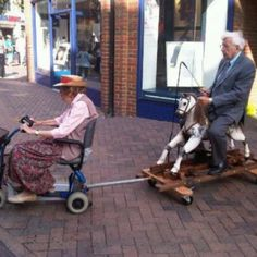 Gotta love old people!!!...we will race if we ever have to be in wheel chairs at the same time lol
