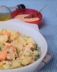 Chicken – Veggie Salad with Homemade Spicy Tahini Dressing