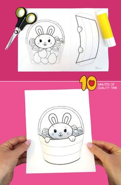 Easter Bunny in a Basket Craft Diy Crafts For Adults, Easy Arts And Crafts, Spring Crafts For Kids, Art For Kids, Easter Art, Easter Bunny, Easter Photo Frames, Mickey Mouse Parties, Minnie Mouse