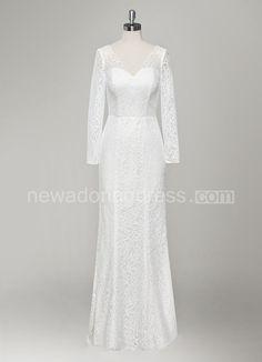 V-Neck Long Sleeve Sheath Lace Wedding Dress
