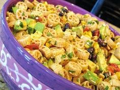 Wagon Wheel Pasta salad. So so good we added 2 pounds of hamburger meat, 1/2 a pack of taco  seasoning in place of chili powder and ate it warm!!! This was a hit with the whole family.