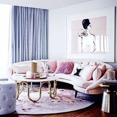 Love the furniture and layout. Would be perfect with a different color scheme