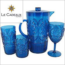Le Cadeaux Fleur Glassware from Madison Ave Gifts Blue Wine Glasses, Iced Tea Glasses, China Porcelain, Drinkware, Home Kitchens, Crystals, Tableware, Microwave, Dishwasher